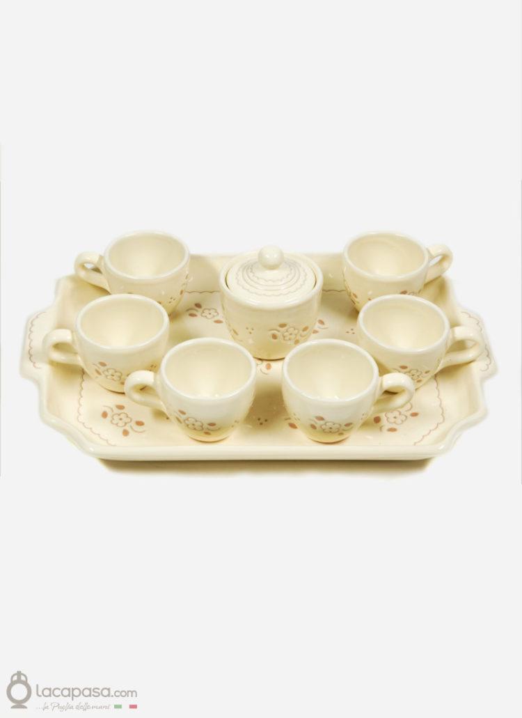 Servizio Caffè ceramica - decoro Fiori Incisi
