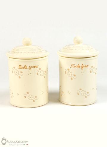 Barattoli porta sale ceramica - decoro Fiori Incisi