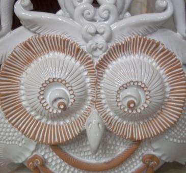 Gufo artistico in ceramica artigianale di Grottaglie