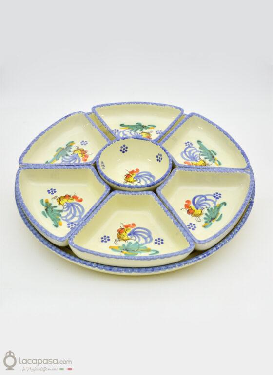 Antipastiera componibile ceramica - decoro Gallo