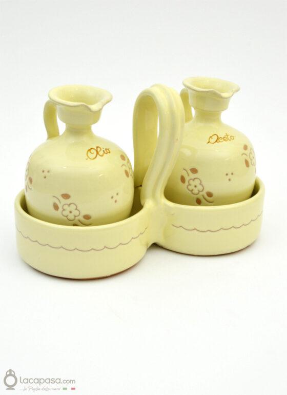 Set olio aceto ceramica - decoro Fiori Incisi