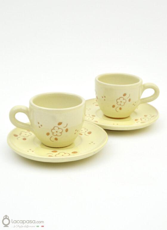 Tazzine caffè ceramica - decoro Fiori Incisi