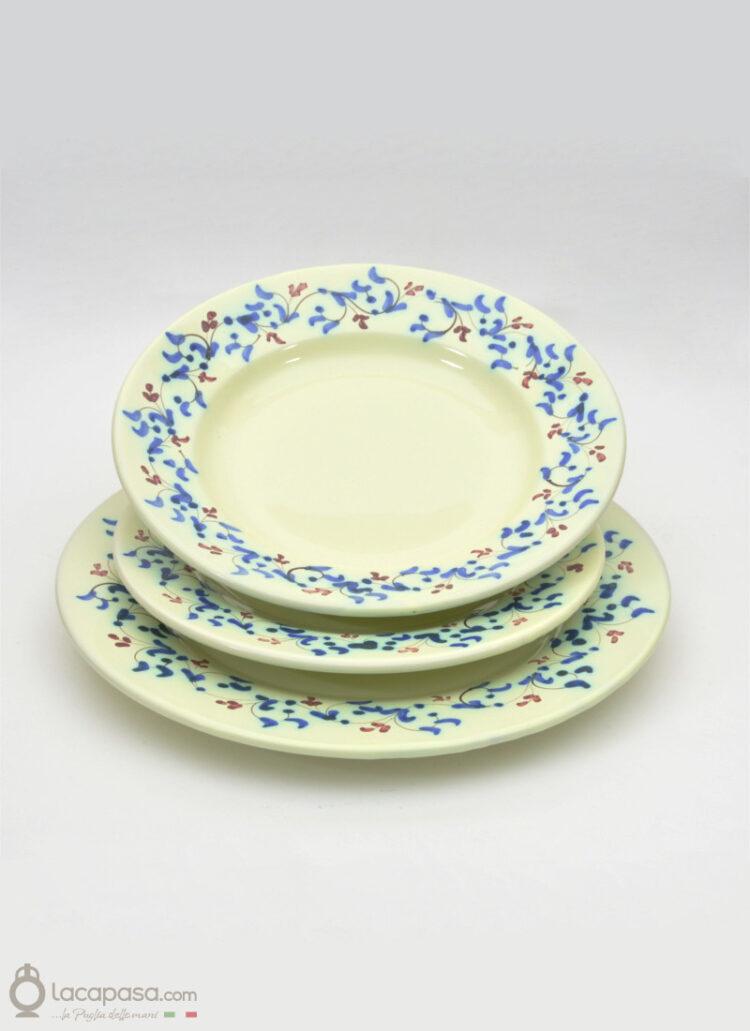 Piatto Fondo ceramica – decoro blu floreale