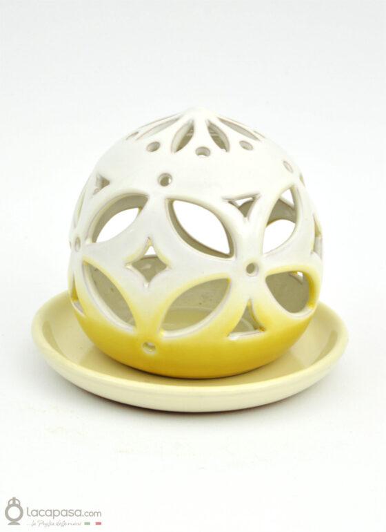 DALIA GIALLA - Porta candela in ceramica