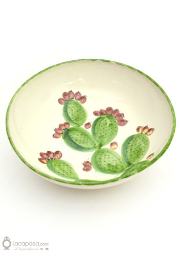 Ceramic salad bowl - Prickly Pear decoration