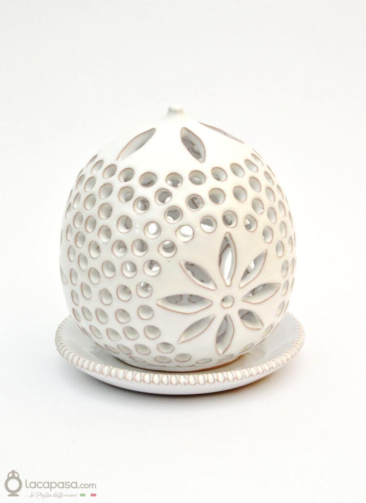 ROSA CANINA - Porta candela in ceramica
