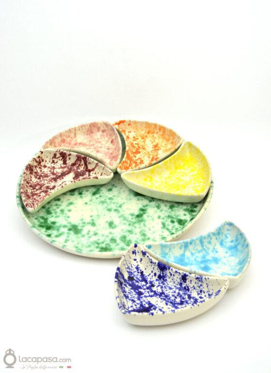 Antipastiera componibile ceramica - decoro Macchia