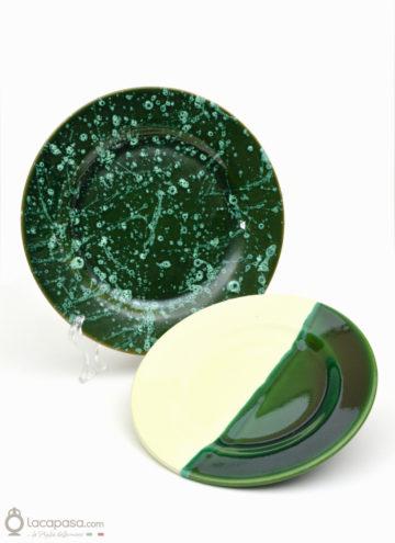 Piatto ceramica decoro Verde Bottiglia