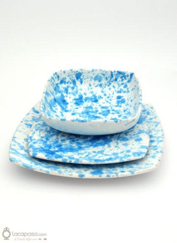 SERVIZIO PIATTI QUADRATI ceramica - decoro Gocce Turchesi