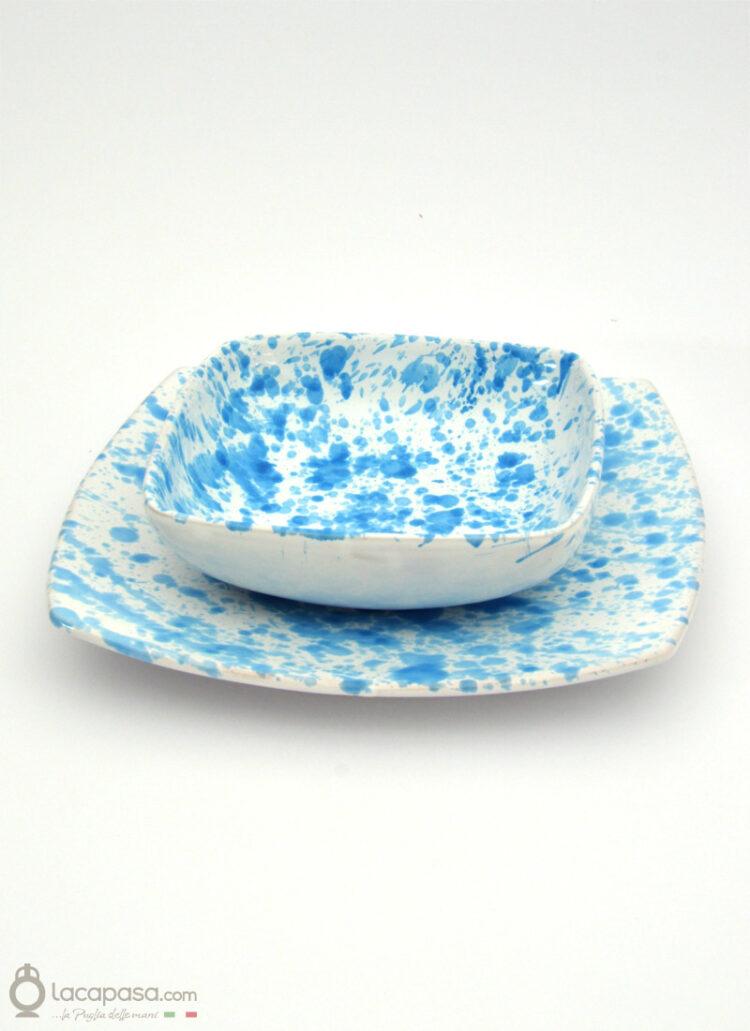 SERVIZIO PIATTI QUADRATI ceramica - decoro Goccia