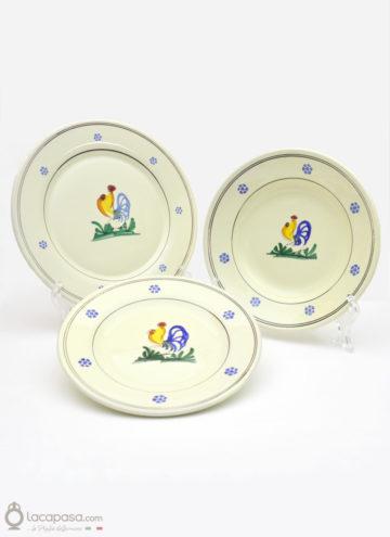 SERVIZIO DI PIATTI con gallo in Ceramica Artigianale