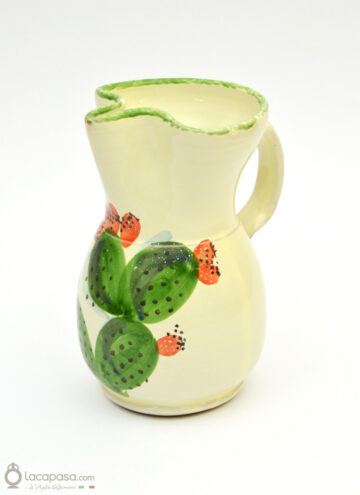 ceramic pitcher - prickly pear decoration