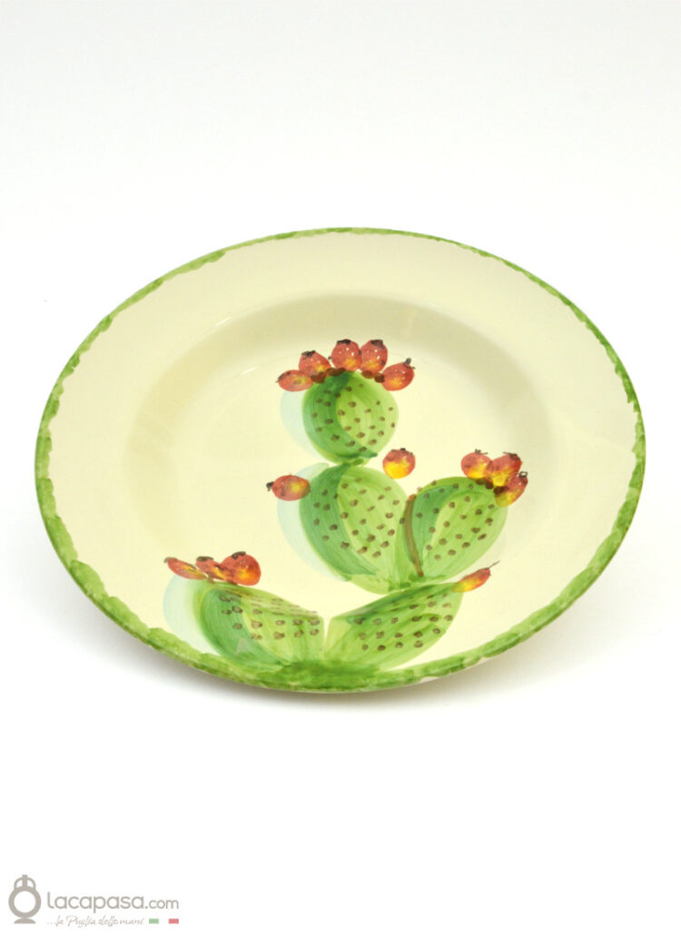 Ceramic soup plate - Prickly Pear decoration