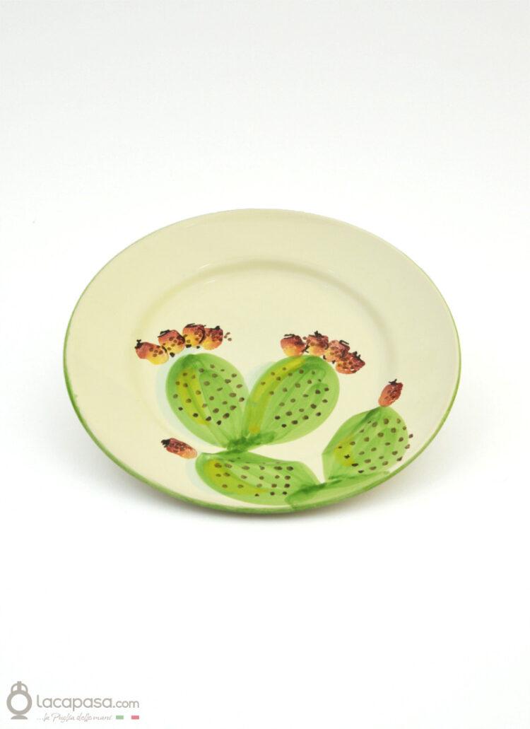 Piatto Frutta ceramica - decoro Fico d'India