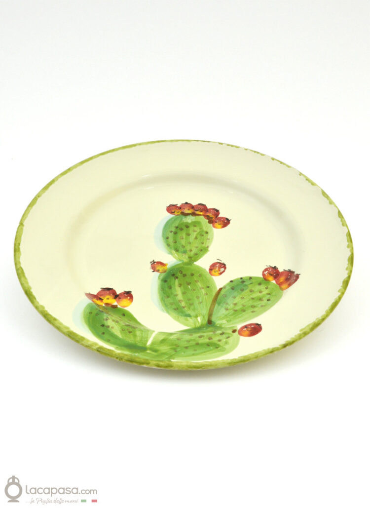 Ceramic flat plate - Prickly Pear decoration