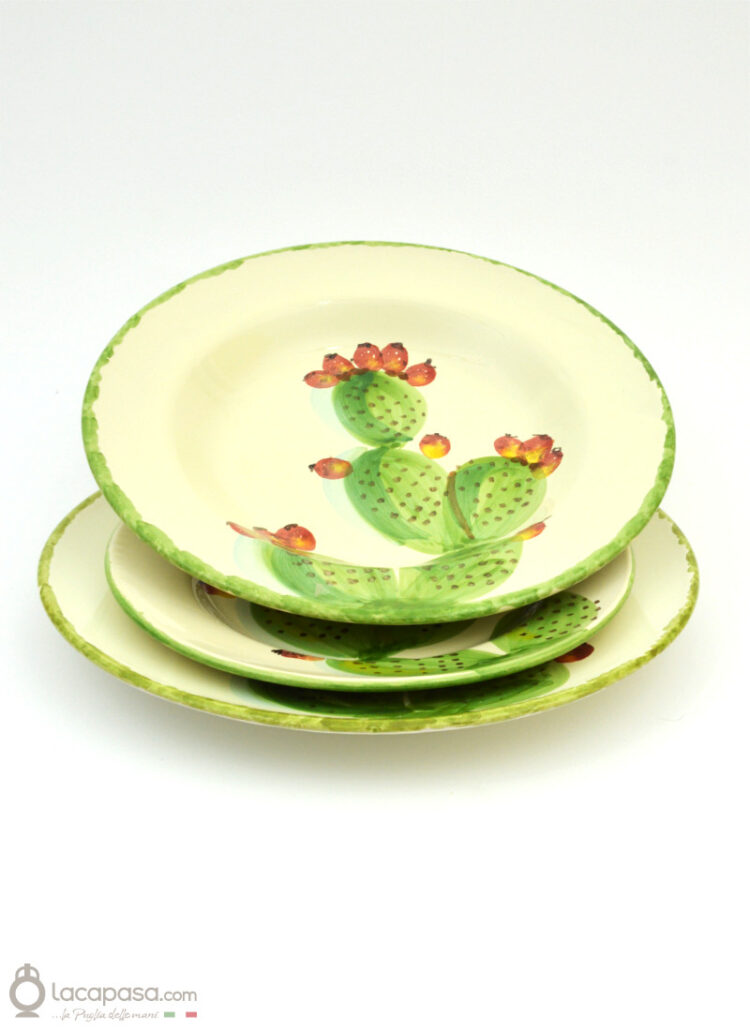 Ceramic plates - Prickly Pear decoration