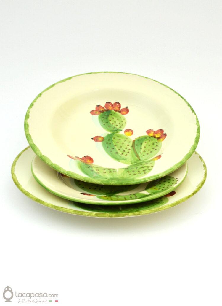 Servizio di Piatti in ceramica - decoro Fico d'India
