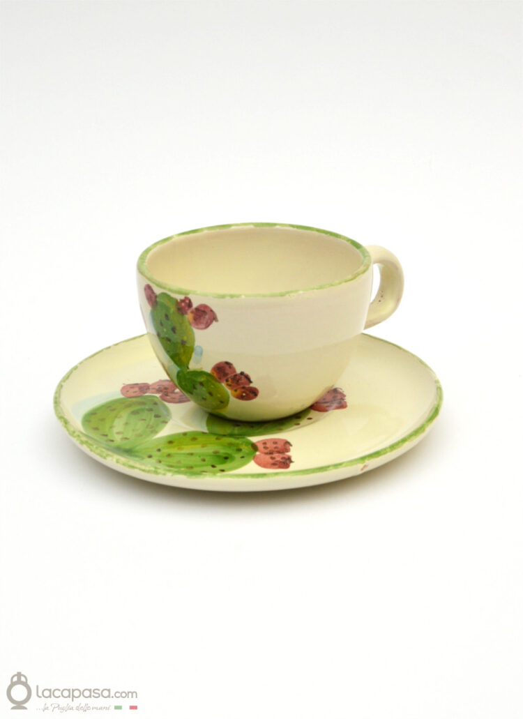 Ceramic tea cup - Prickly Pear decoration