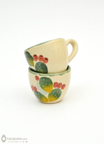 Ceramic coffee cup - Prickly Pear decoration