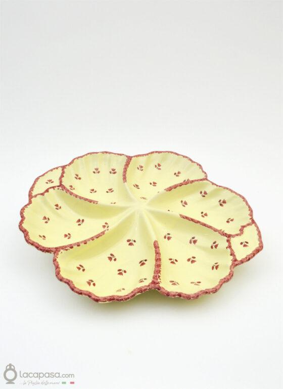 Antipastiera Conchiglia ceramica - decoro Tulipano