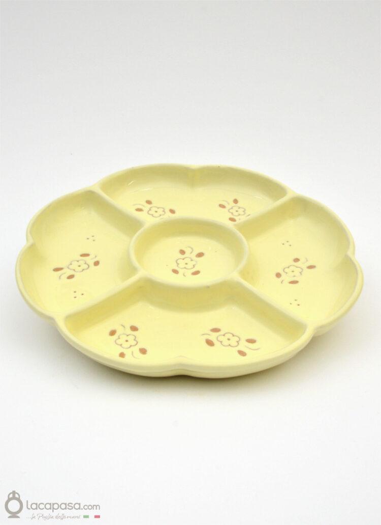 Antipastiera ceramica - decoro Fiori Incisi