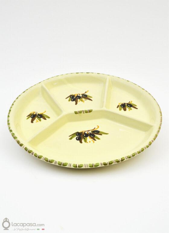 Antipastiera ceramica - decoro Ulivo